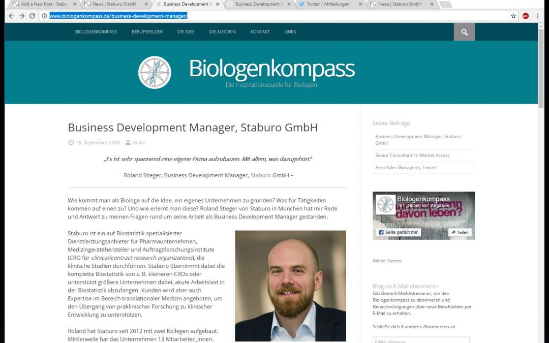Story about our Business Development Manager Roland Stieger on biologenkompass.de