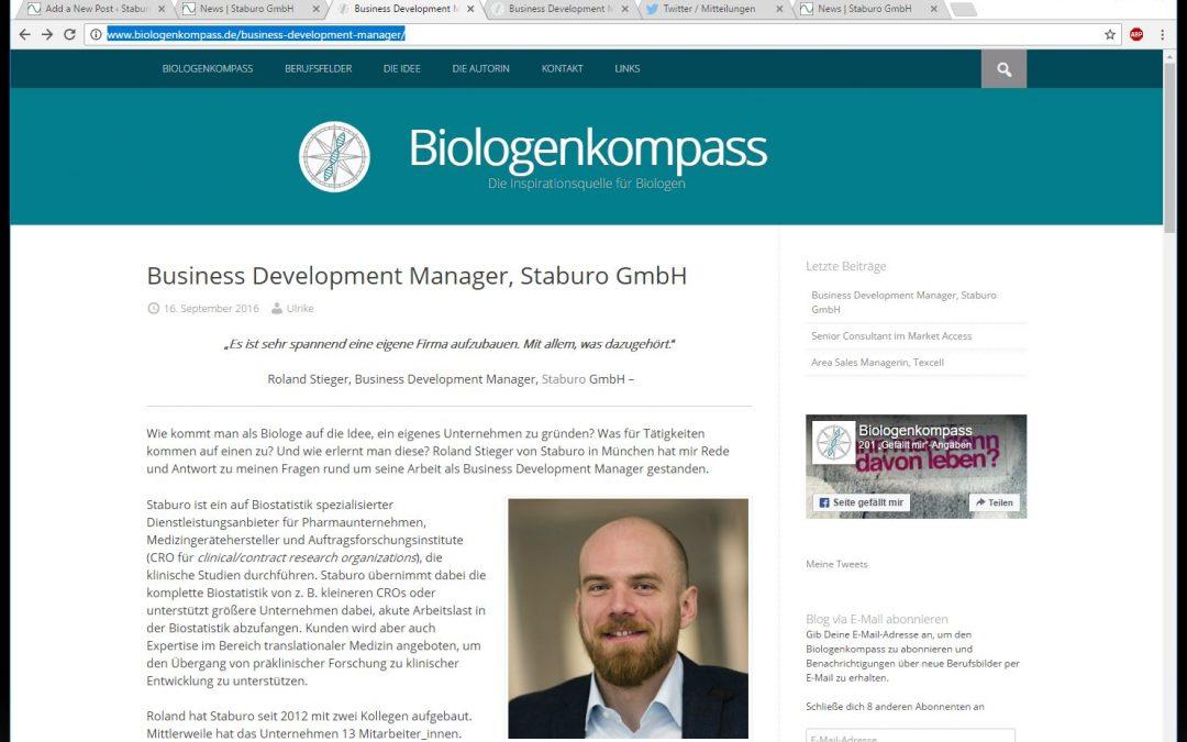 Story about our Business Development Manager Roland Stieger on biologenkompass.de