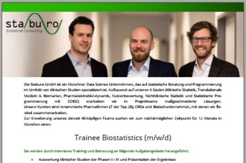 Trainee Biostatistics (m/w/d)