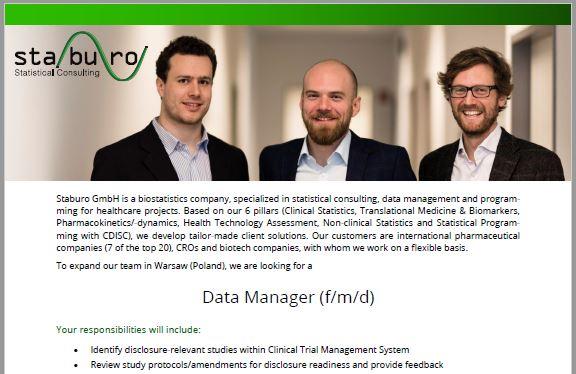 Staburo Data Manager Warsaw