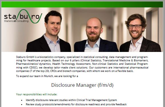 Staburo Disclosure Manager Munich