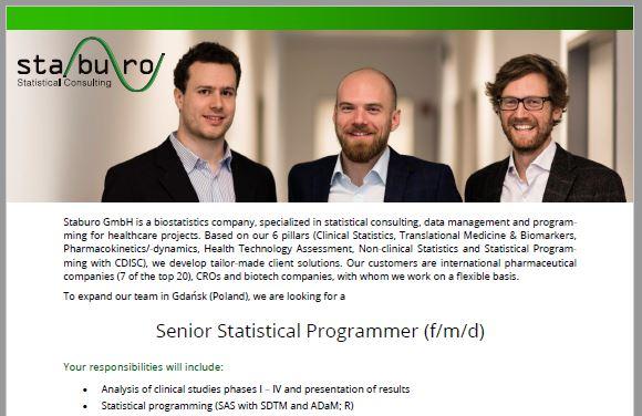 Staburo Senior Statistical Programmer Gdansk