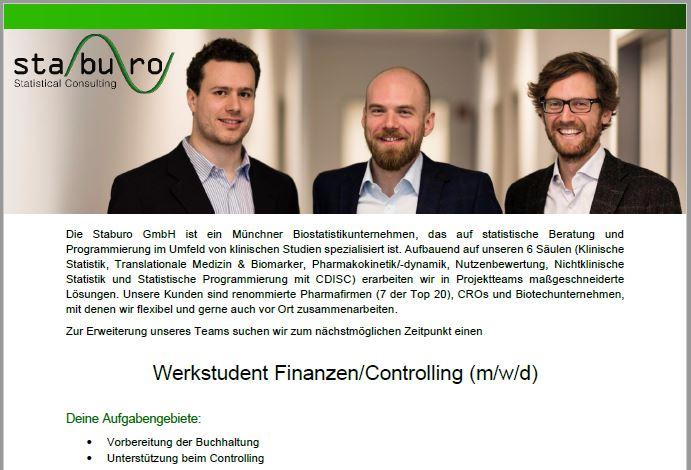 Staburo Werkstudent Finanzen/Controlling Munich