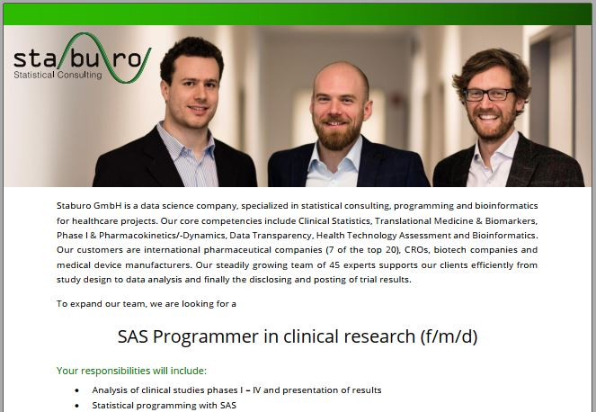 SAS Programmer in clinical research (f/m/d)