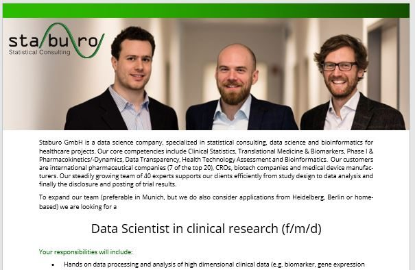 Data Scientist in clinical research (f/m/d)