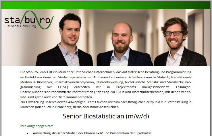 Senior Biostatistician (m/w/d)