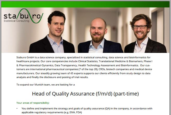 Head of Quality Assurance (f/m/d) (part-time)