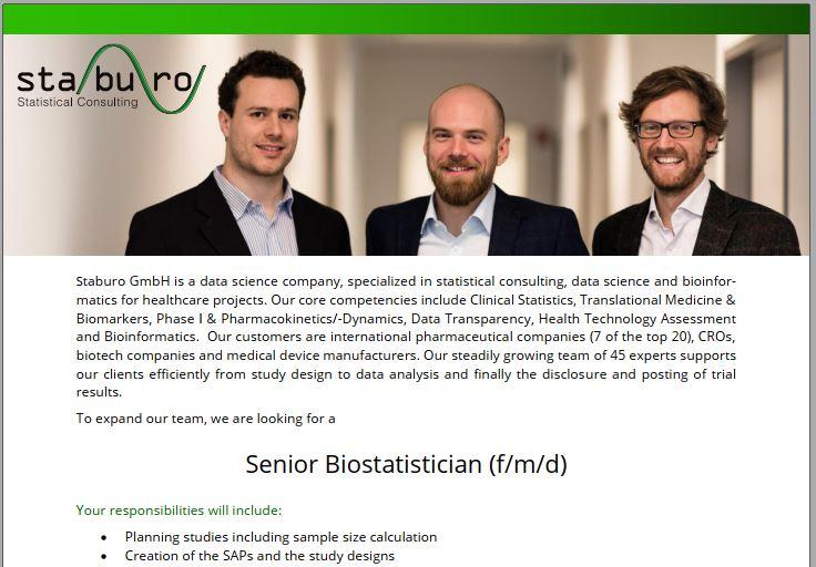 Senior Biostatistician (f/m/d)