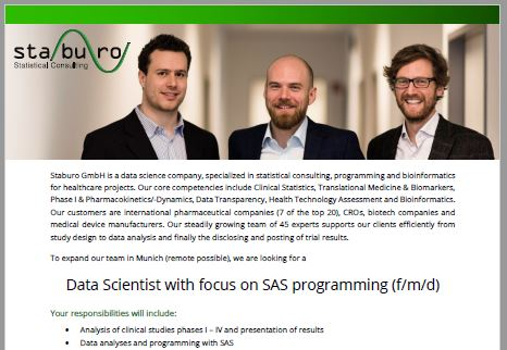 Data Scientist with focus on SAS programming (f/m/d)