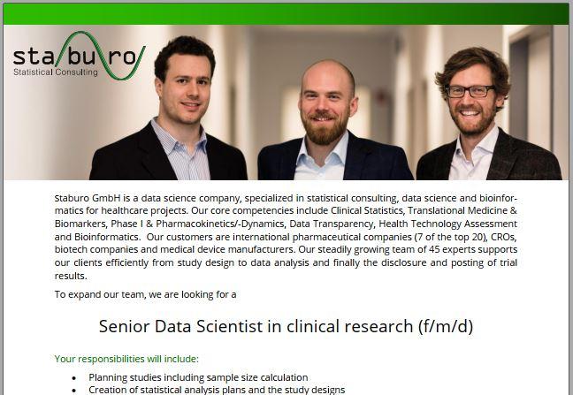 Senior Data Scientist in clinical research (f/m/d)