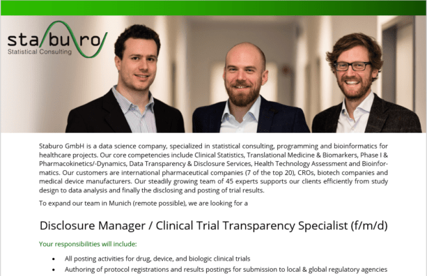 Disclosure Manager / Clinical Trial Transparency Specialist (f/m/d)